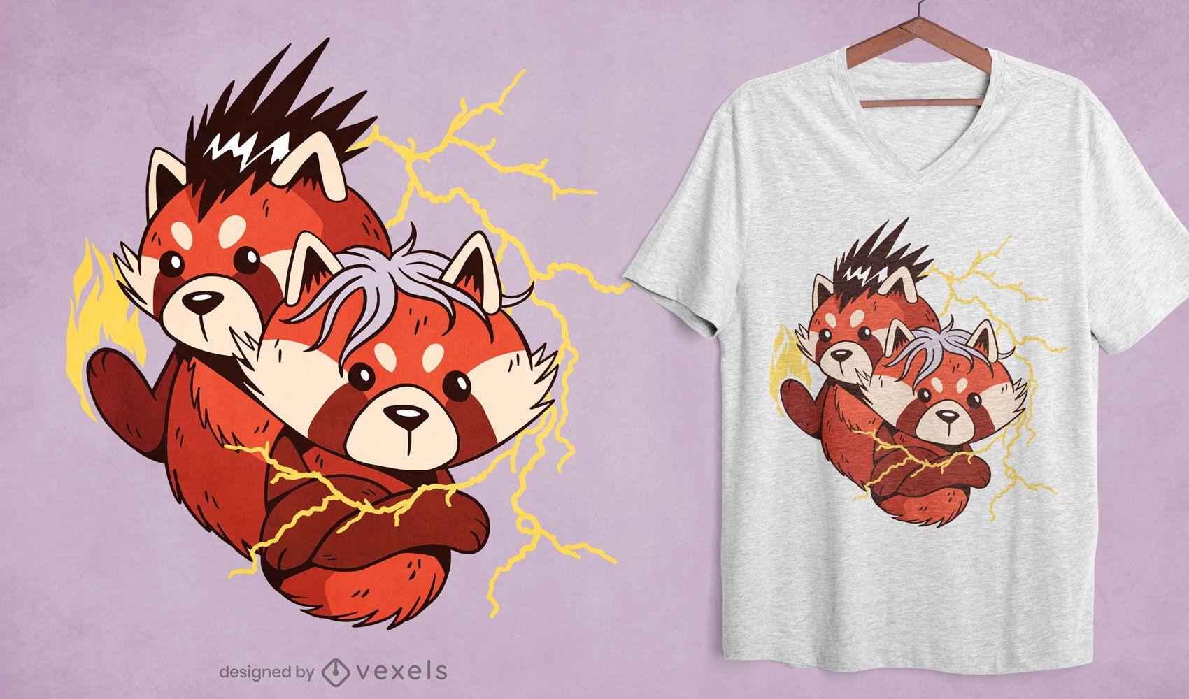 Powerful red panda cartoon t-shirt design