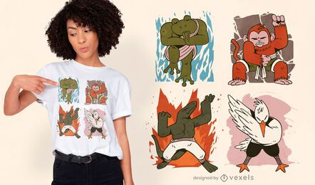 Design de camisetas de quatro elementos de animais