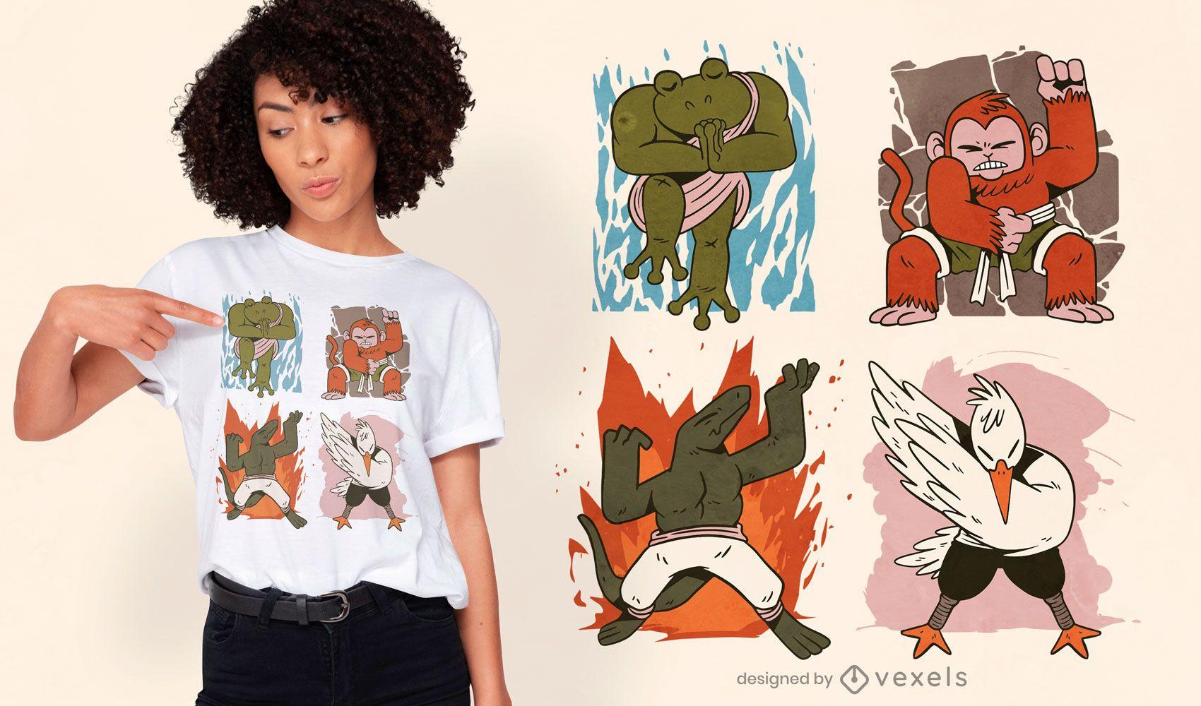 Diseño de camiseta de cuatro elementos de animales.