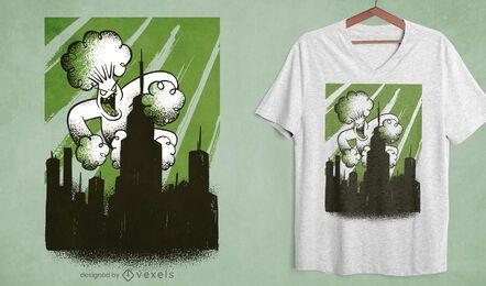 Diseño de camiseta de ataque de monstruo de brócoli.