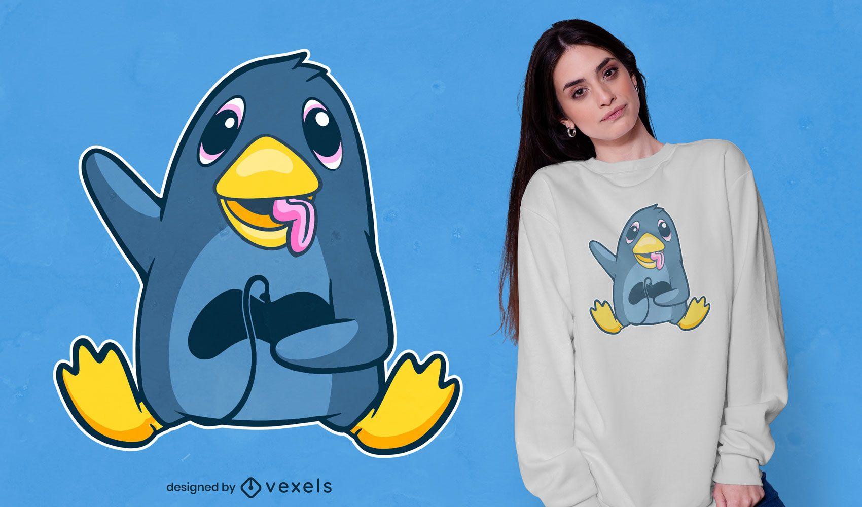 Pingüino jugador con diseño de camiseta de joystick