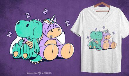 Diseño de camiseta para dormir unicornio y t-rex.