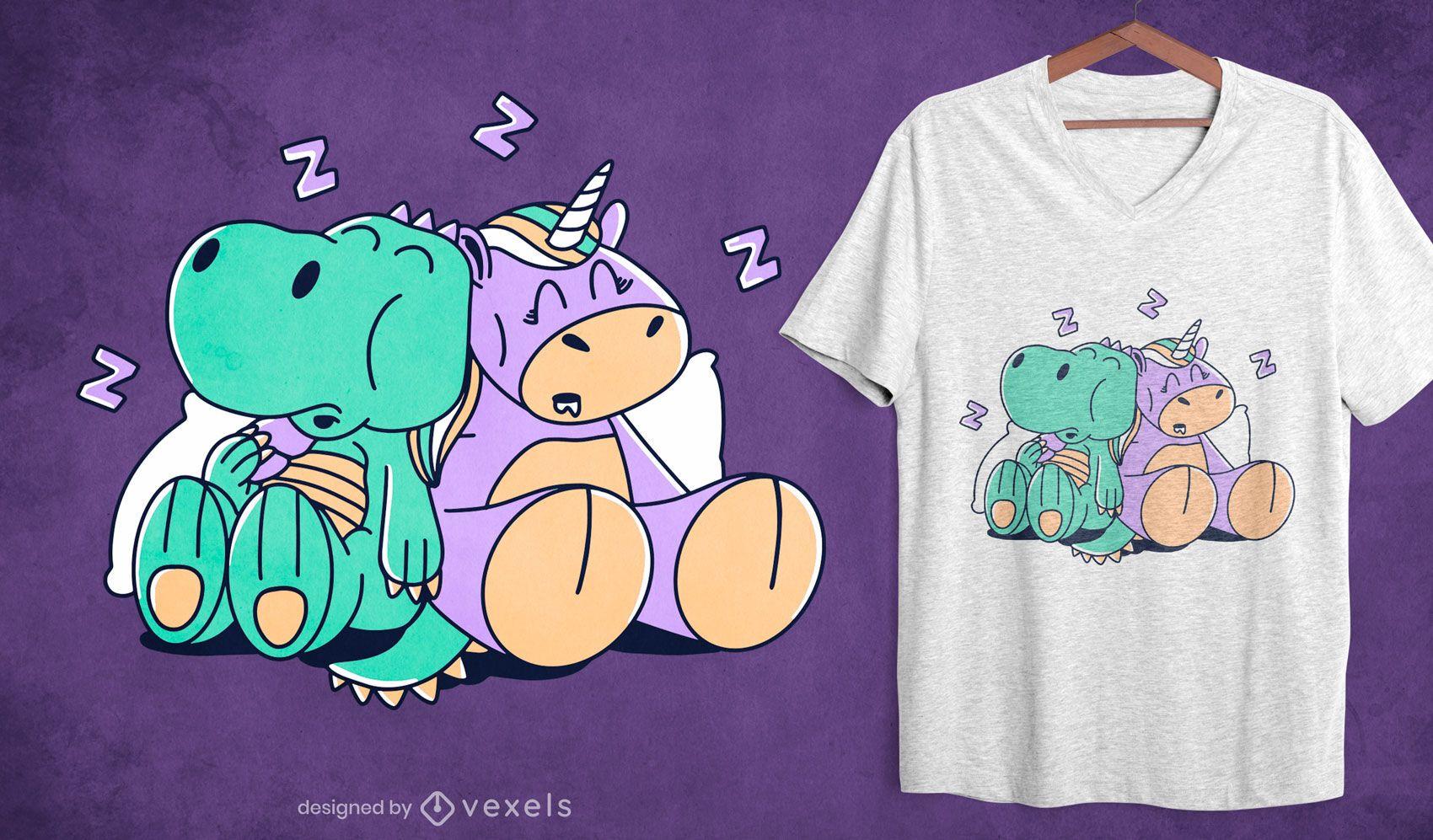 Unicorn and t-rex sleeping t-shirt design