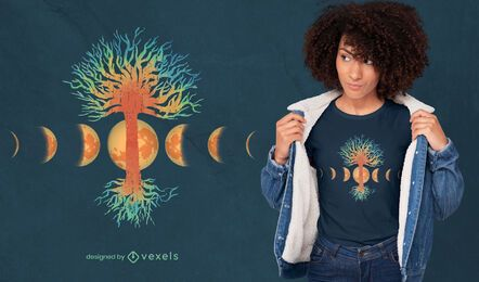 Diseño de camiseta de árbol de la vida de fases lunares.