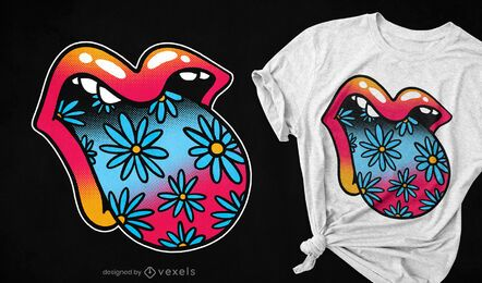 Design de t-shirt de boca floral trippy com língua
