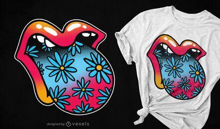 Trippy Blumenmund Zunge Zunge T-Shirt Design
