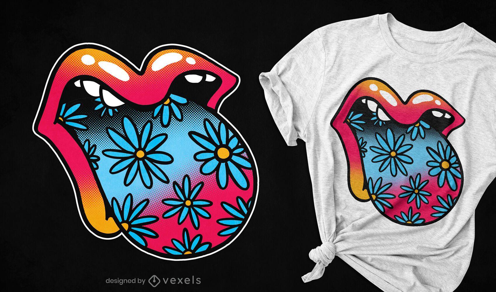 Diseño de camiseta de lengua de boca floral trippy