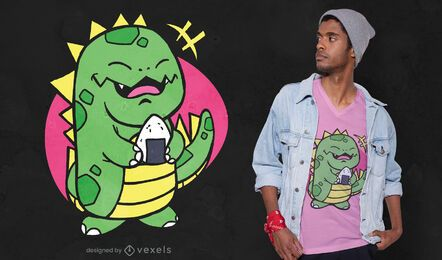 Cute dinosaur with onigiri t-shirt design