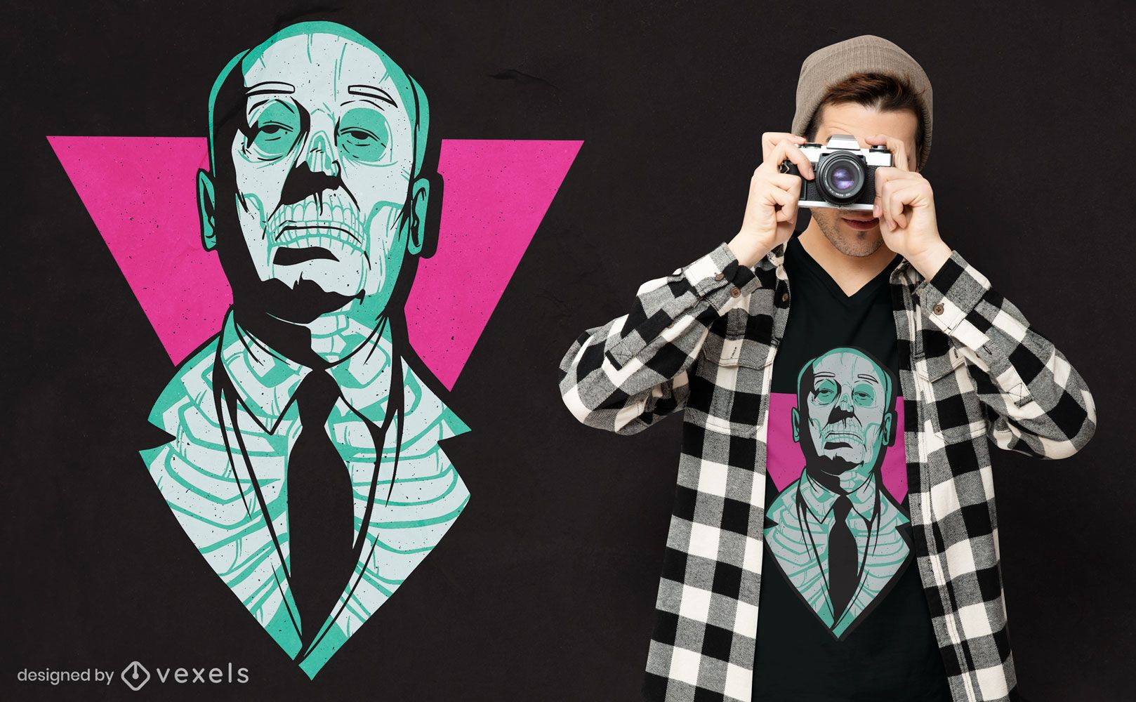 Hitchcock neon skull t-shirt design
