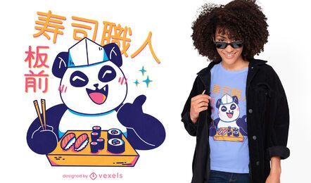 Diseño de camiseta panda kawaii sushi chef