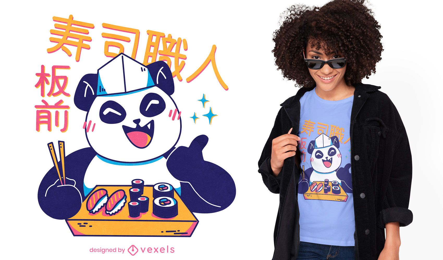 Panda kawaii sushi chef t-shirt design