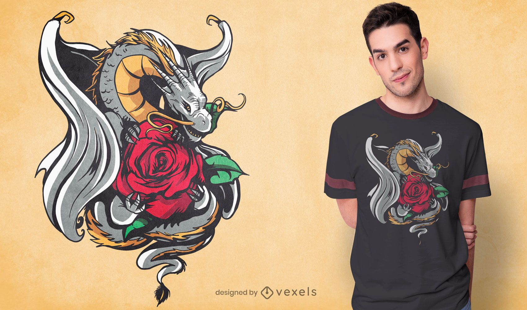 Silver dragon with rose t-shirt design