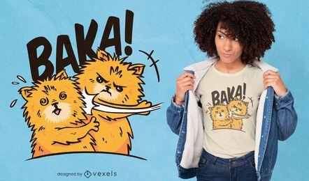 Design de t-shirt de cão batendo em cão