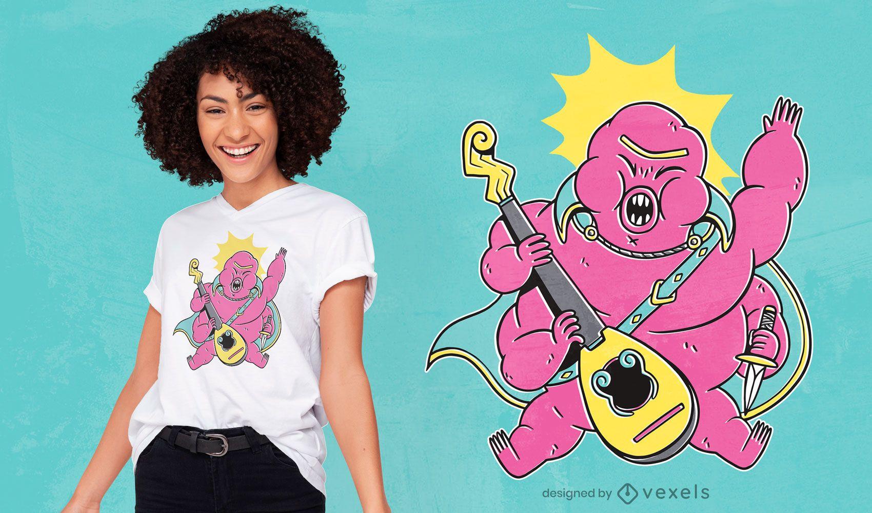 Design de t-shirt com personagem tardígrado