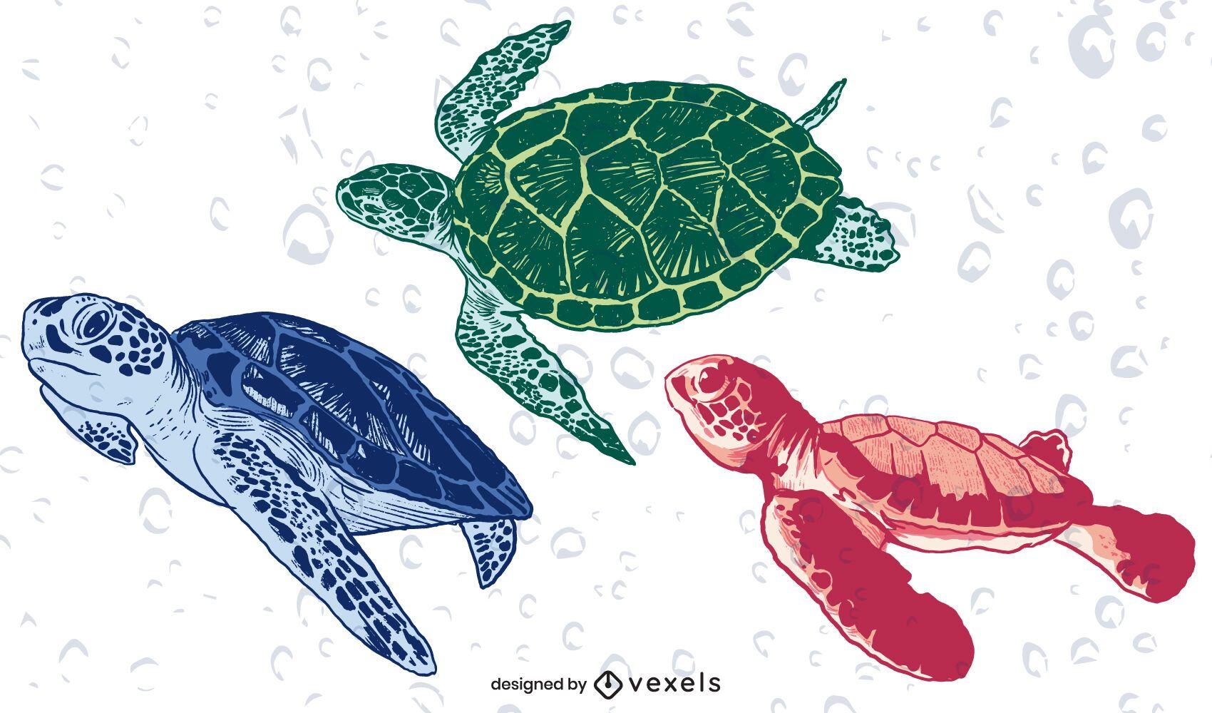 Conjunto de ilustração de tartarugas nadando