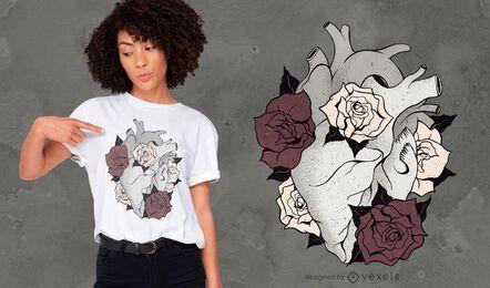 Design de t-shirt com coração de flores