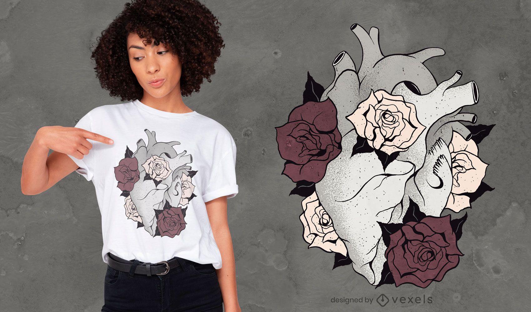 Blumenherz-T-Shirt Design