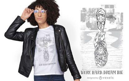 Cat reflection tiger t-shirt design