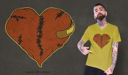 Diseño de camiseta de corazón roto