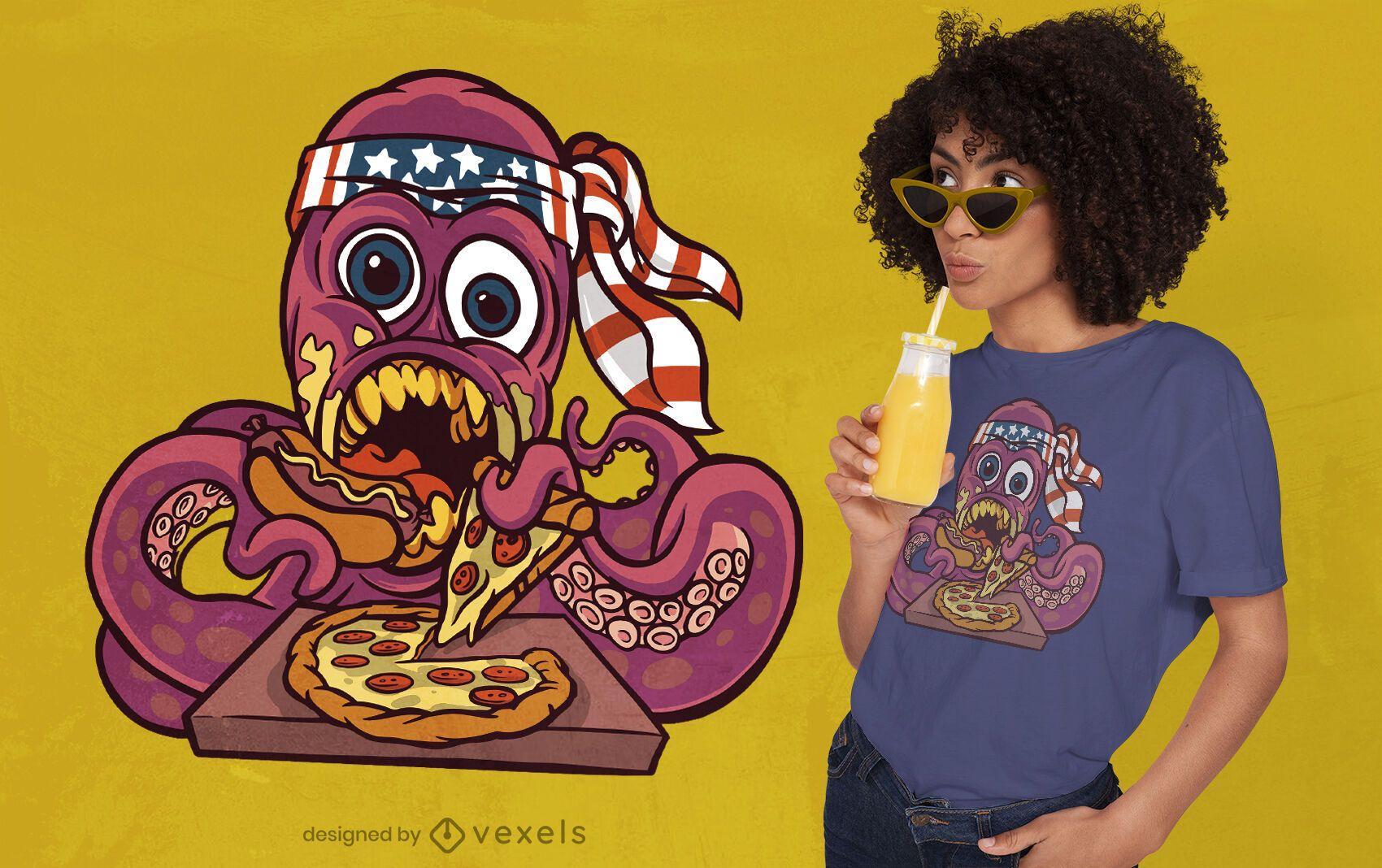 Design de camiseta de polvo comendo fast food
