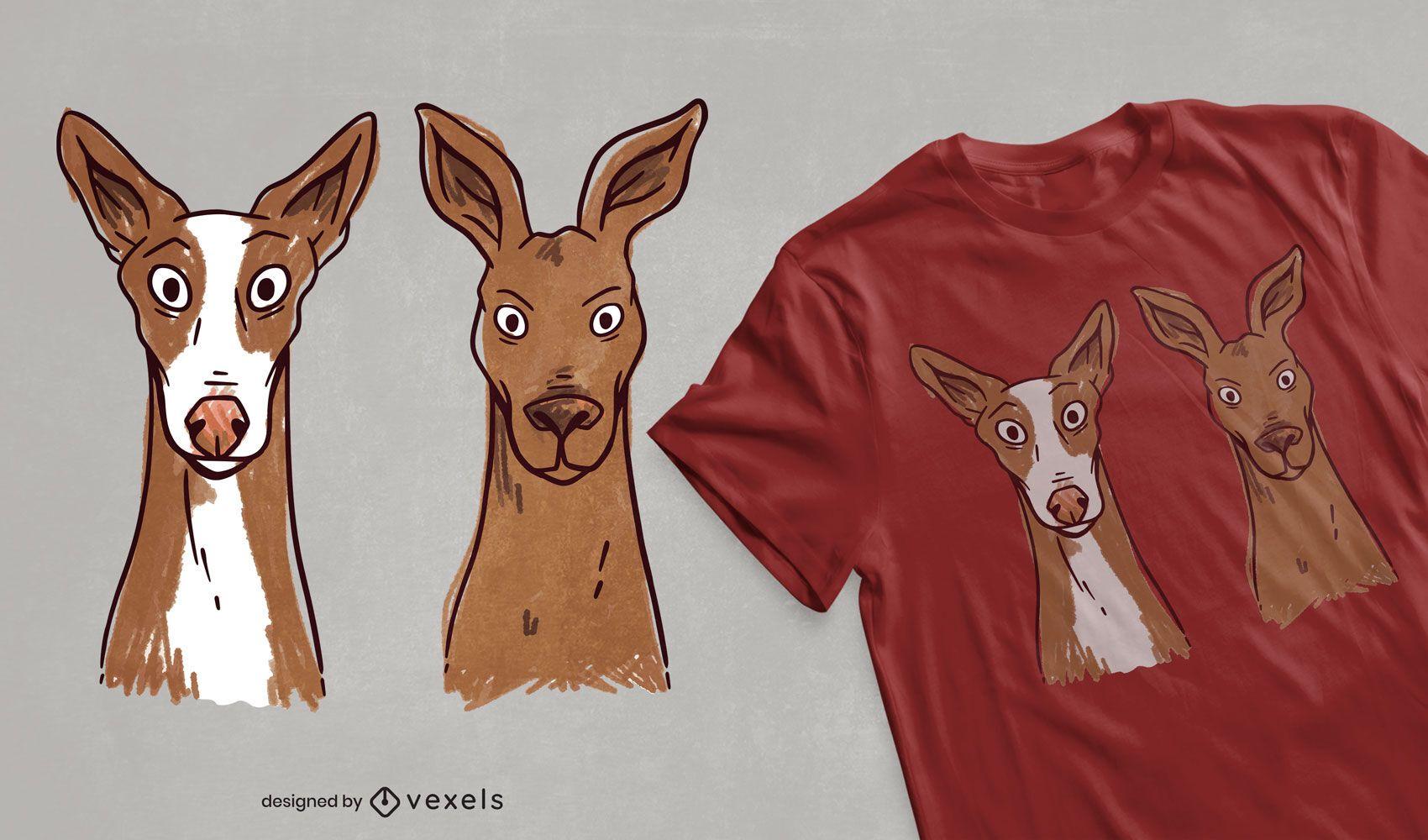 Design de t-shirt de cão e canguru