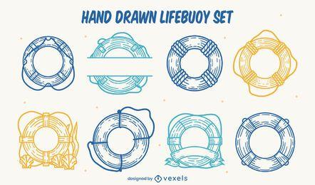 Conjunto de anéis flutuadores salva-vidas desenhados à mão