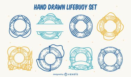 Conjunto de anillos flotantes salvavidas dibujados a mano.