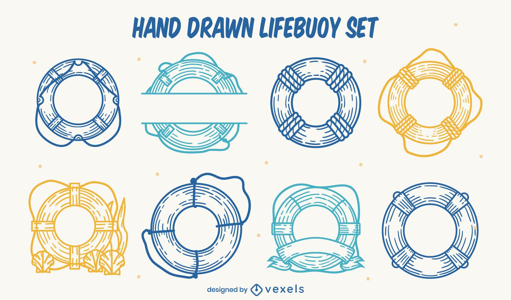Life saver float rings hand-drawn set