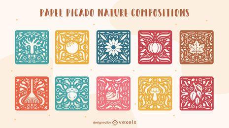 Conjunto de papel picado da composição do mosaico da natureza