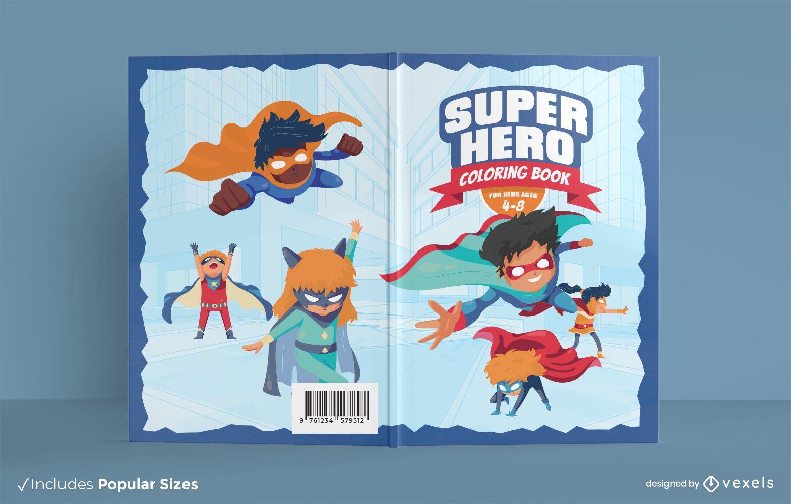 Design da capa do livro para colorir super-herói