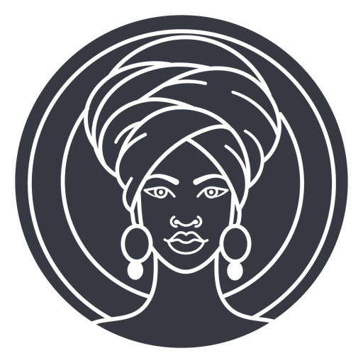 African woman cut out badge