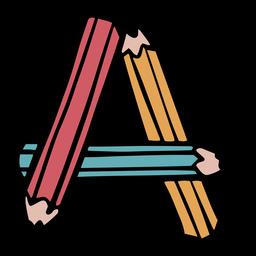 Letter A pencils color stroke