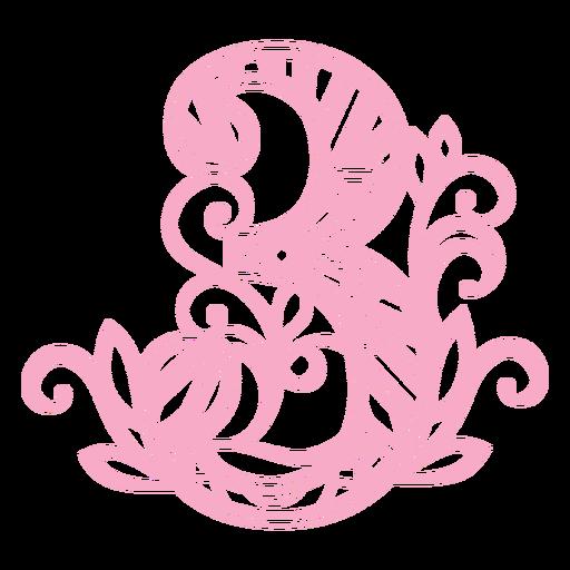 Pink number three mandala