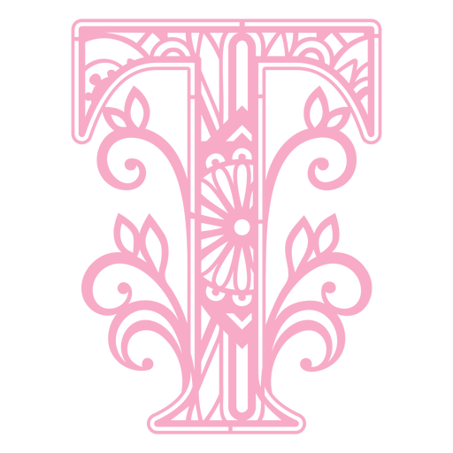 Pink letter T mandala design