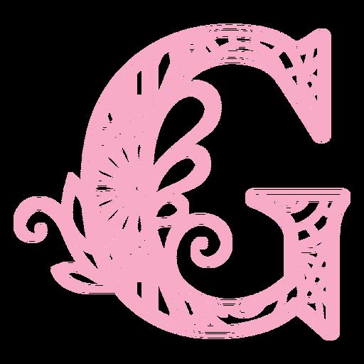 Floral alphabet G letter stroke