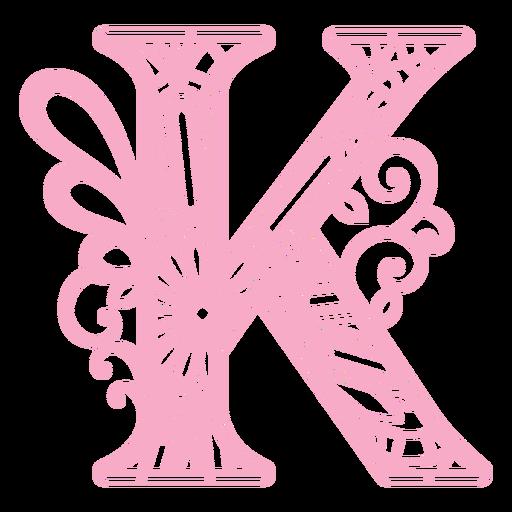 Floral alphabet K letter stroke