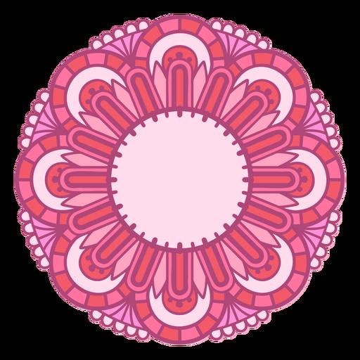 Pink mandala round label color stroke
