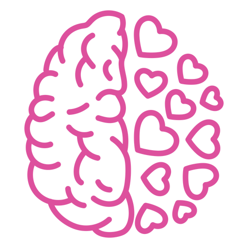 Brain with hearts stroke