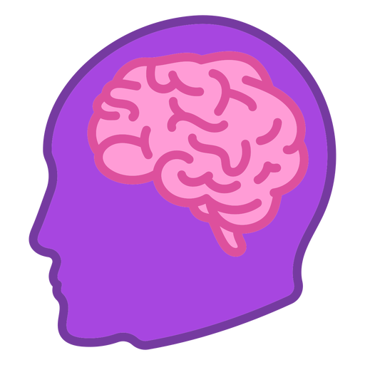 Brain in head color stroke