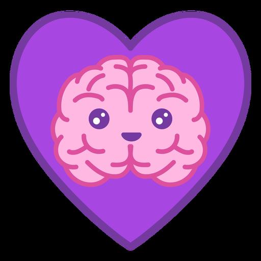 Brain in heart color stroke