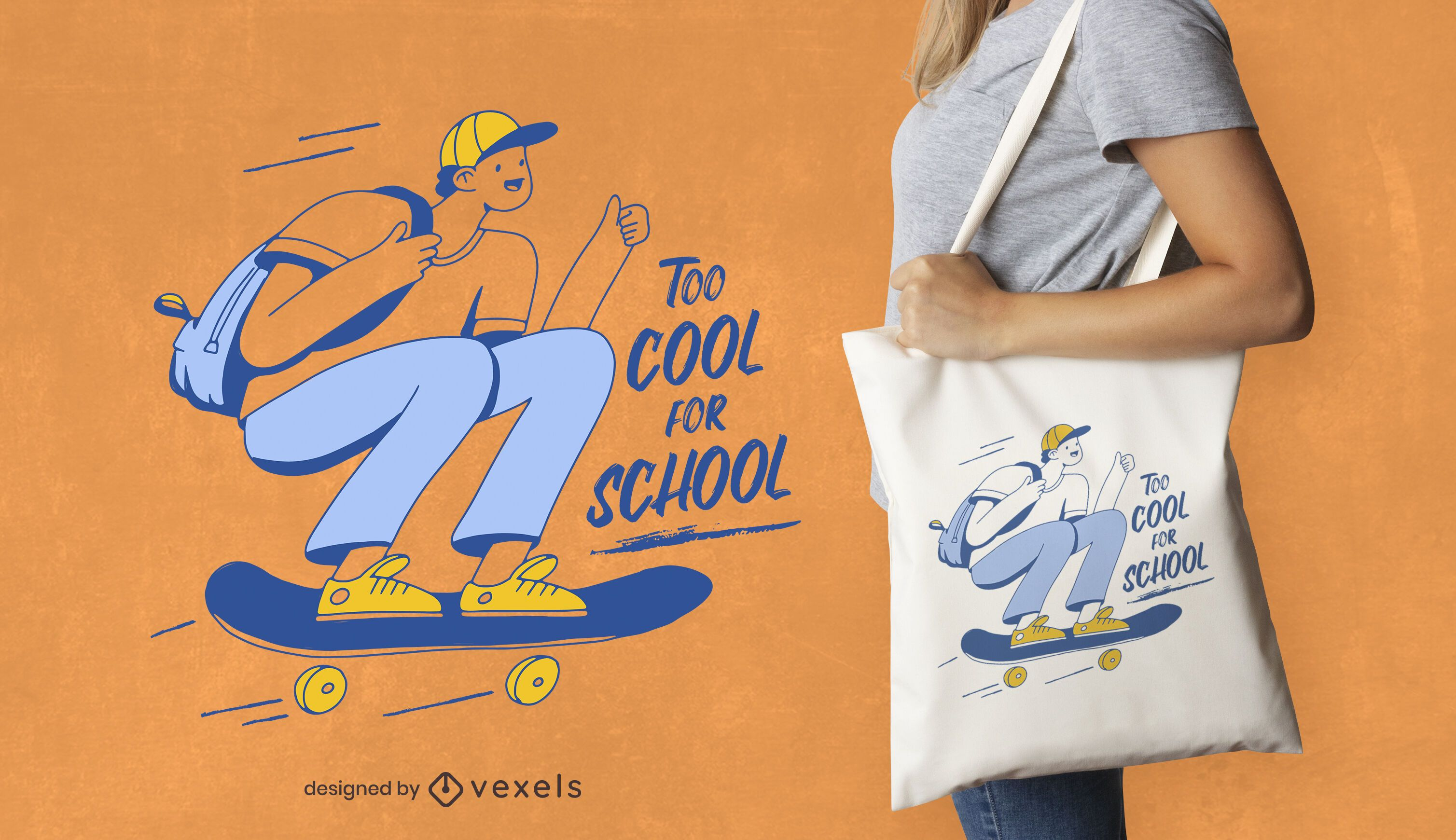 Diseño de bolsa de asas divertido de skate de niño