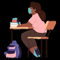 Sitting student semi flat