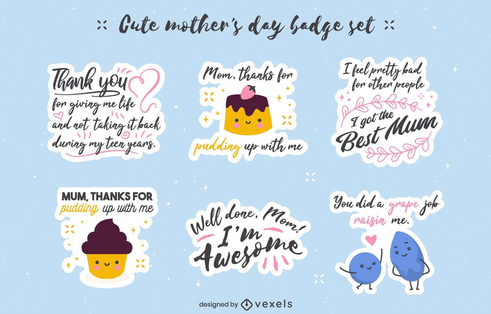 Pacote de adesivos de citações engraçadas do dia das mães