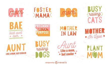 Conjunto de letras engraçadas de citações do dia das mães