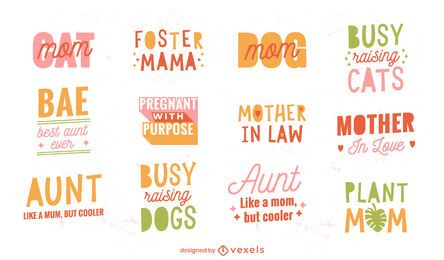 Funny mothers day quotes lettering set
