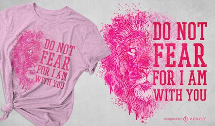 Diseño de camiseta realista león salvaje.