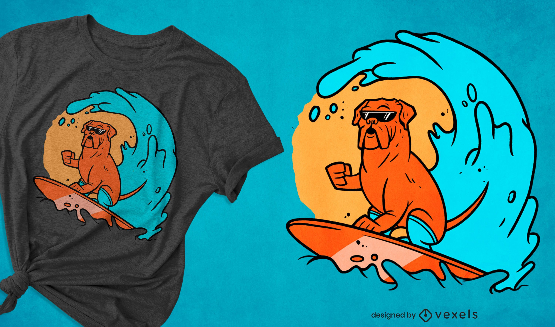 Dog surfing on wave t-shirt design