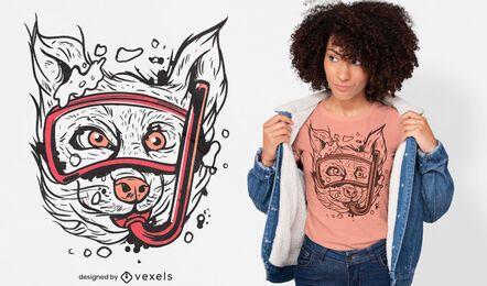 Design de t-shirt animal para cão snorkel