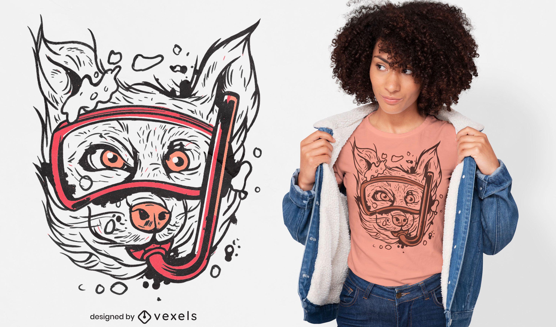Diseño de camiseta animal perro snorkel.