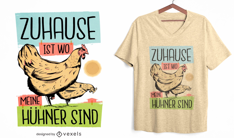 Diseño de camiseta de cita de casa de granja de pollos